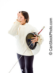 Female fencer showing ok sign