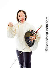 Female fencer celebrating success