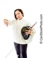 Female fencer showing thumbs down sign