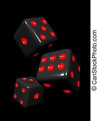 Black dice in black background