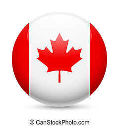 Round glossy icon of Canada - Flag of Canada as round glossy...
