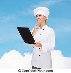 sorrindo, femininas, cozinheiro, pretas, em branco, papel