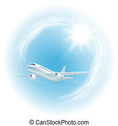 Illustration of airplane in the sky with sun. EPS10 vector.