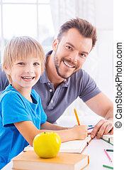 secundario, hijo, el suyo, estudiar, lado, vista, alegre,...