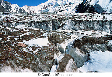 Glacier in Pamir Mountains - photo of a high mountain...