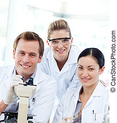 Portrait of a scientists with a microscope - Portrait of a...