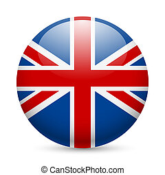 Round glossy icon of Great Britain - Flag of Great Britain...
