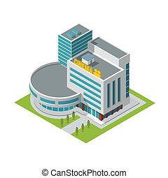 Cinema building isometric - Modern 3d urban cinema theatre...