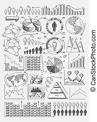 Sketch diagrams infographics - Sketch diagrams charts dot...
