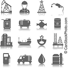 Oil Industry Icons - Oil industry gasoline processing...