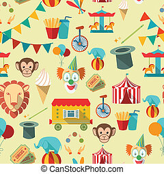 Circus seamless pattern - Decorative vintage travelling...