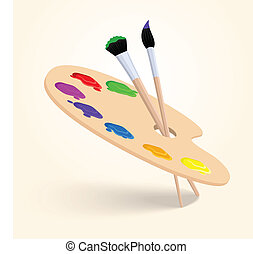 Art color palette with paintbrush drawing tools isolated on...