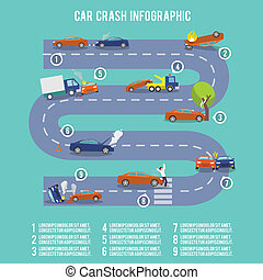Car crash infographics - Car crash infographic set with...