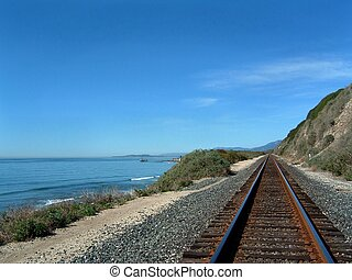 Costal Train Tracks - Costal train tracks with the ocean on...