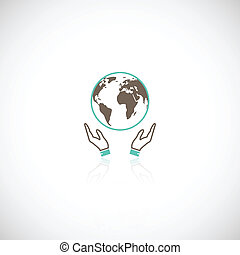 Earth hands icon - Global eco earth human collective support...