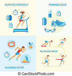 Running icons composition - Running jogging composition of...