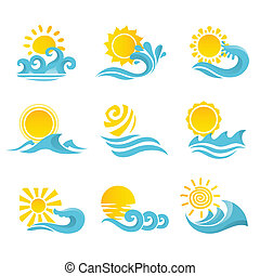 Waves Sun Icons Set - Waves flowing water sea ocean icons...