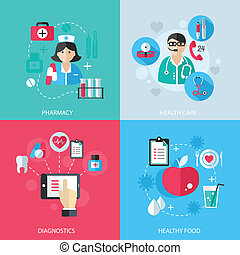 Medicine healthcare services concept flat icons set of...