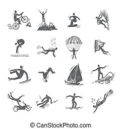 Extreme Sports Icons Sketch - Extreme sports icons sketch of...