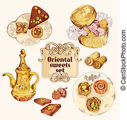 Oriental sweets colored set - Oriental arabian turkish...