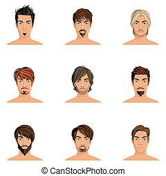 Man Hair Style Set - Handsome man male avatars set with...