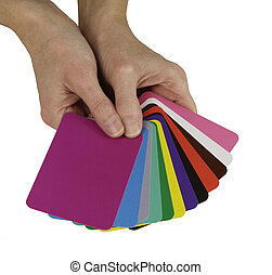 Color Healing Cards - Color therapist holding a selection of...