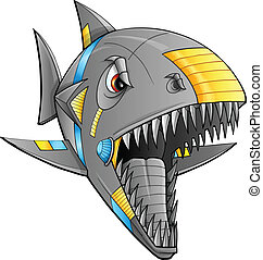 Robot Cyborg Shark Vector Art