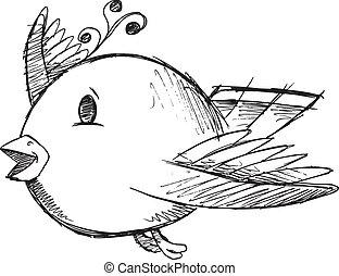 Cute Doodle Sketch Bird Vector