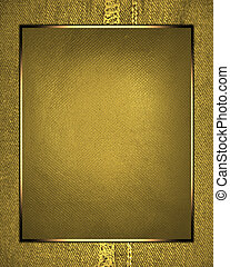Abstract gold background with gold frame and yellow label...