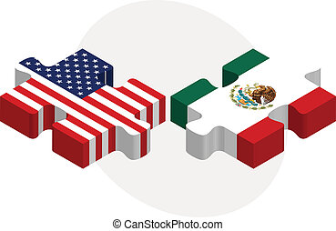 USA and Mexico Flags in puzzle - Vector illustration of USA...