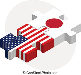 USA and Japan Flags in puzzle - Vector illustration of USA...