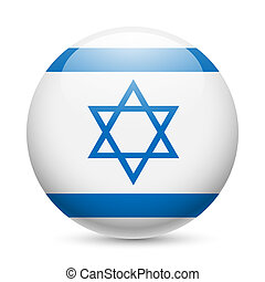 Round glossy icon of Israel - Flag of Israel as round glossy...