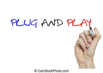 enchufe, juego, mano, escritura