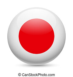 Round glossy icon of Japan - Flag of Japan as round glossy...