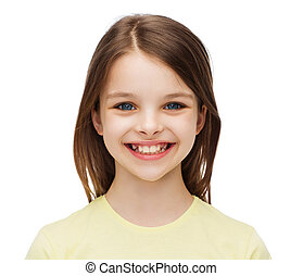 smiling little girl over white background - happiness and...