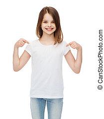 smiling little girl in blank white t-shirt - t-shirt design...