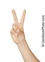 Hand Gesture - Caucasian female using hand gestures to say...