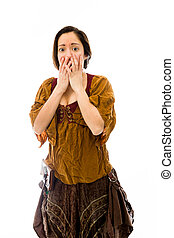 Young woman with hand over her mouth and shock