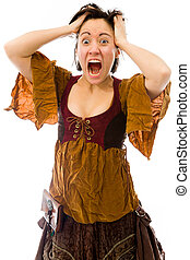 Frustrated woman pulling her hair