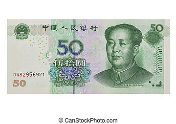 Chinese Yuan - Chinese 50 RMB or Yuan featuring Chairman Mao...
