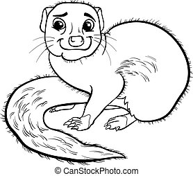 mongoose animal cartoon coloring book - Black and White...