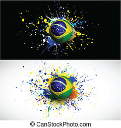 brazil flag with soccer ball dash on colorful background,...