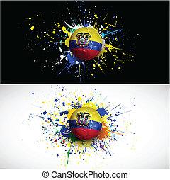 ecuador flag with soccer ball dash on colorful background, vecto