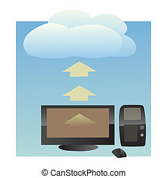 cloud computing - this is Illustration of data transfer...