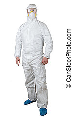 protective suit - person in a protective suit isolated on...