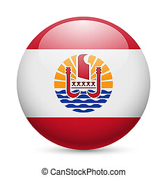 Round glossy icon of French Polynesia - Flag of French...