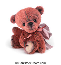 Classic teddy bear on white background