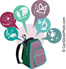 School backpack - Open backpack and symbols of school...