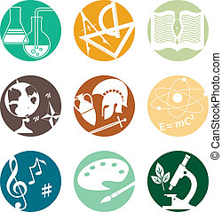 School subjects icons - Set of circular icons with symbols...