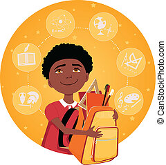 Elementary school student - Cartoon school boy with a...